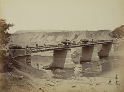 28. Main Western Canal. Grand Trunk Road Bridge with cotton carts.